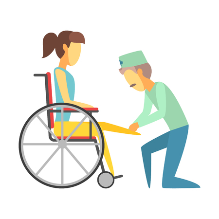 Male doctor helping woman sitting on wheelchair. Colorful cartoon characters Illustration