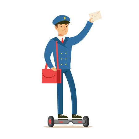 우편 배달 부 파란색 유니폼, 미소로 우편 배달부 업무 수행 일러스트
