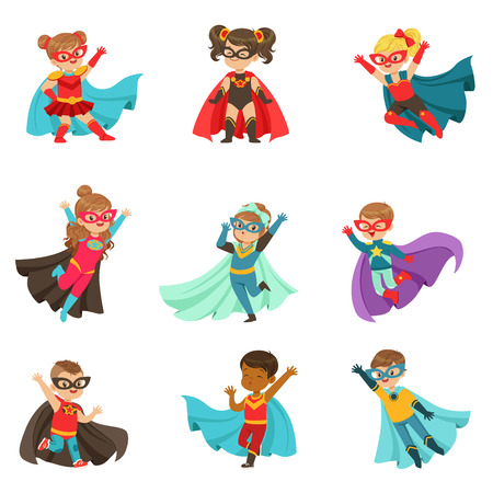 Super kids set, boys and girls in superhero costumes colorful vector Illustrations 일러스트