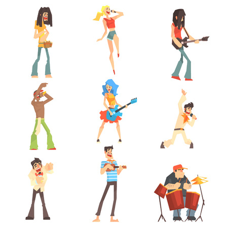 Musicians And Singers Of Different Music Styles Performing On Stage In Concert Series Of Cartoon Characters Иллюстрация