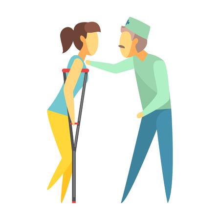 Doctor helping woman walking with crutches. Medical care concept. Colorful cartoon characters