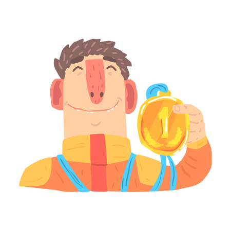 Car racing driver man in an orange uniform holding golden medal, racing participant vector Illustration