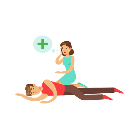 Woman calling by mobile for help to young unconscious man vector Illustration
