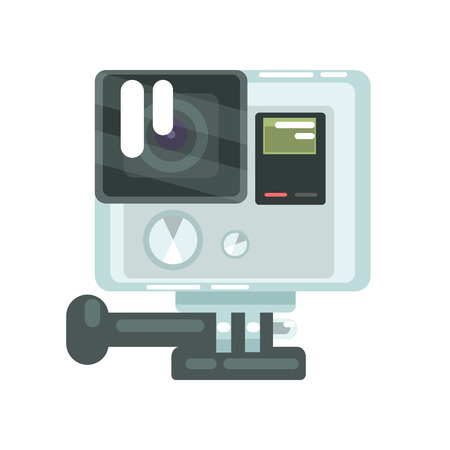 High definition photo video camera action. Colorful cartoon vector Illustration Illusztráció