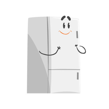 Cute smiling cartoon fridge character, humanized funny home appliance vector Illustration