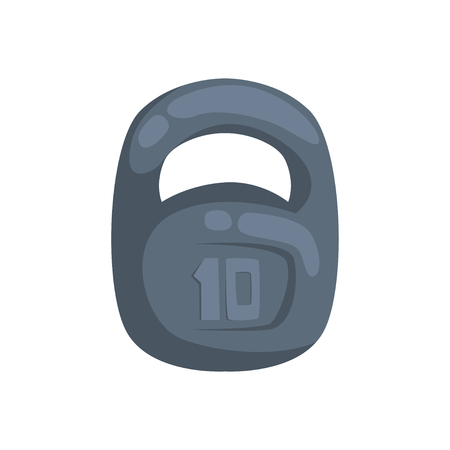 Kettlebell, weight 10 kilogram cartoon vector Illustration Illustration