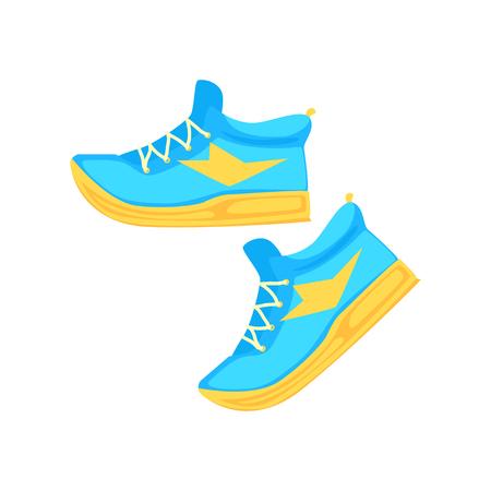 Pair of light blue athletic shoes cartoon vector Illustration