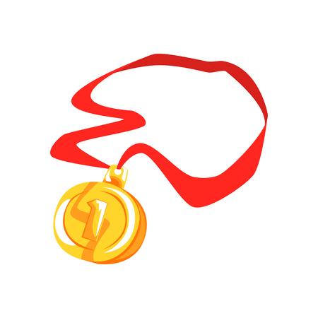 Gouden eerste plaats medaille cartoon vector illustratie