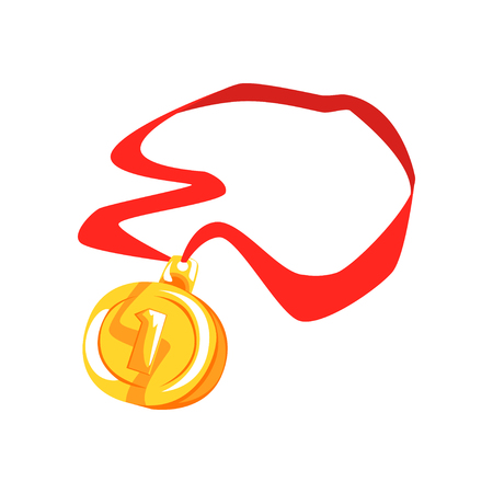Gold first place medal cartoon vector Illustration