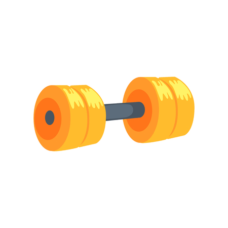 Yellow dumbbell, sport equipment cartoon vector Illustration