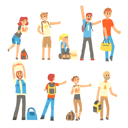 Young people standing with a sign hitchhiking and raised their thumb up set, travelling by autostop cartoon vector Illustrations Illustration