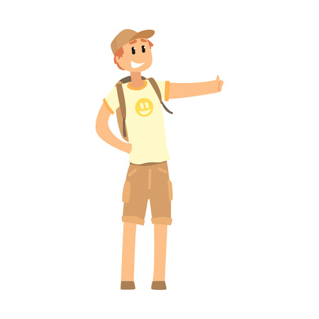Young smiling man with backpack standing with a sign hitchhiking and raised his thumb up, travelling by autostop cartoon vector Illustration Illustration