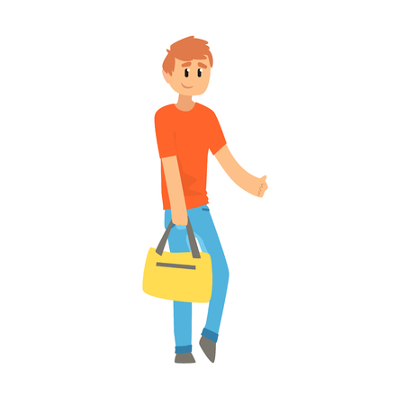 Young man with bag standing with a sign hitchhiking and raised his thumb up, travelling by autostop cartoon vector Illustration Illustration