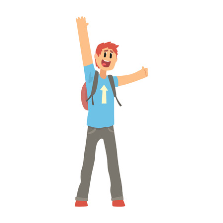 Hitchhiking man trying to stop a car on a highway, travelling by autostop cartoon vector Illustration Illustration