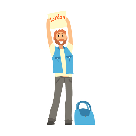 Traveler man hitchhiking with tablet with text London, travelling by autostop cartoon vector Illustration Stock Vector - 84442436