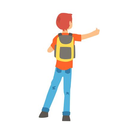 Man met een grote rugzak stopte een rit door te bladeren, achteraanzicht, reizen door autostop cartoon vector illustratie