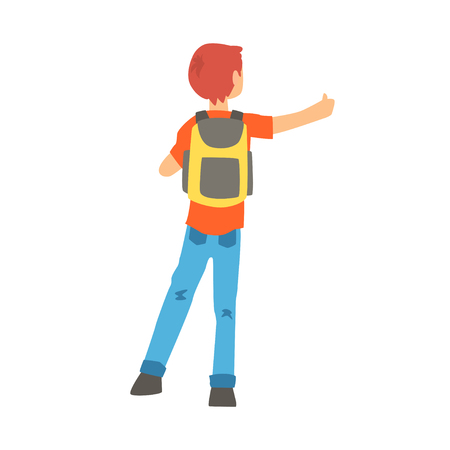 Man with a big backpack stopped a ride by thumbing, back view, travelling by autostop cartoon vector Illustration