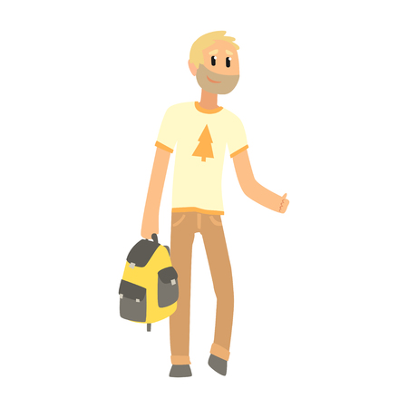 Hitchhiking man with bag trying to stop a car on a highway, travelling by autostop cartoon vector Illustration