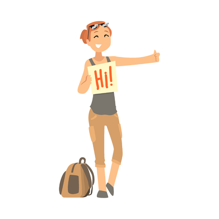 Young woman standing with a sign hitchhiking and raised her thumb up, travelling by autostop cartoon vector Illustration Illustration
