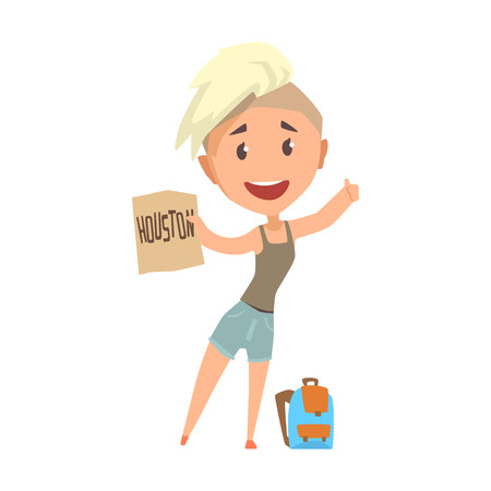 Young happy woman standing with a sign hitchhiking, travelling by autostop cartoon vector Illustration
