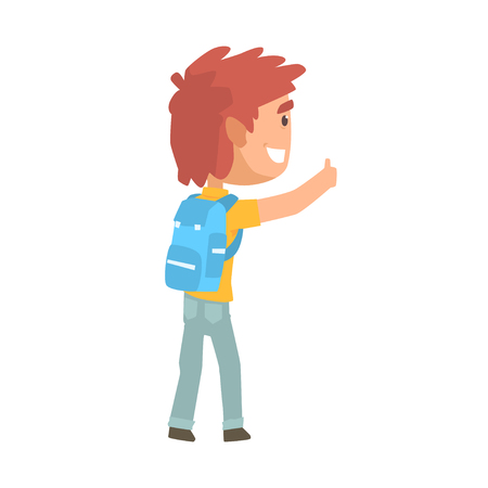 Young tourist man with backpack standing with a sign hitchhiking and raised his thumb up, travelling by autostop cartoon vector Illustration