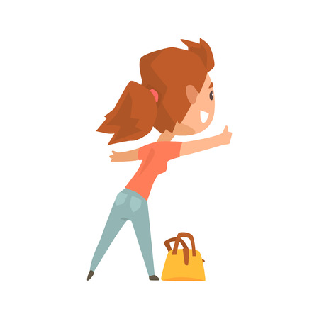 Girl with bag standing with a sign hitchhiking and raised her thumb up, travelling by autostop cartoon vector Illustration