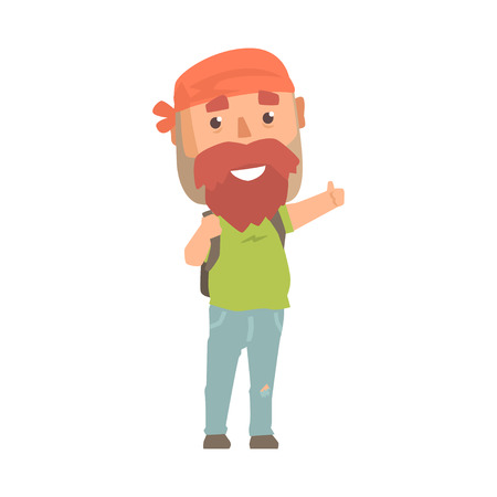 Hitchhiking hipster man with backpack trying to stop a car on a highway, travelling by autostop cartoon vector Illustration