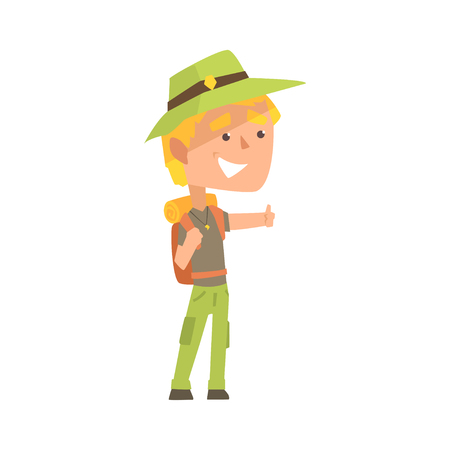 Smiling young man wearing comfy travel outfit with backpack standing with a sign hitchhiking, travelling by autostop cartoon vector Illustration Stock Vector - 84442464
