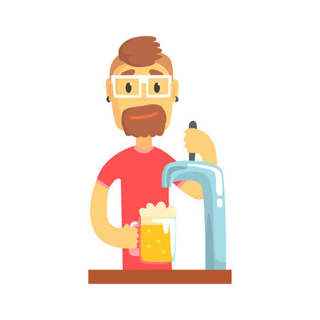 Bartender man character standing at the bar counter pouring beer, barman at work cartoon vector Illustration Illustration