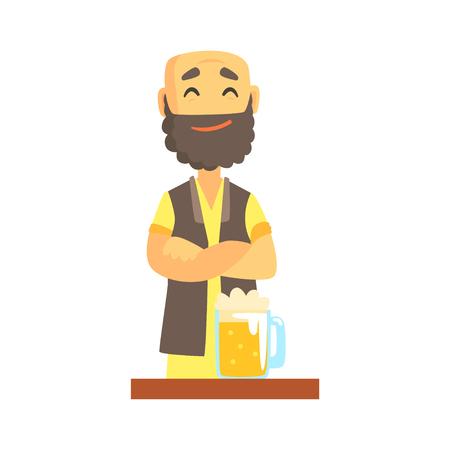 Bald bearded bartender character standing at the bar counter, barman at work cartoon vector Illustration Illustration