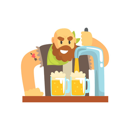 Bald bearded bartender man character standing at the bar counter pouring beer, barman at work cartoon vector Illustration
