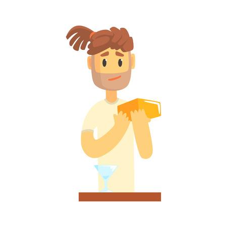 Barman man karakter met dreadlocks staan ??â ? <â ? <aan de bar, barman op het werk cartoon vector illustratie