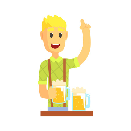 Bartender man character standing at the bar counter with index finger up gesture, barman at work cartoon vector Illustration