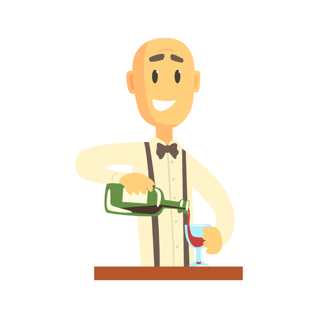 Elegant bartender man character standing at the bar counter pouring wine, barman at work cartoon vector Illustration