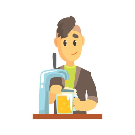 Bartender man character standing at the bar counter pouring beer, barman at work cartoon vector Illustration Illustration