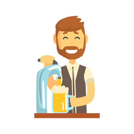 Smiling bearded bartender man character standing at the bar counter pouring beer, barman at work cartoon vector Illustration Illustration