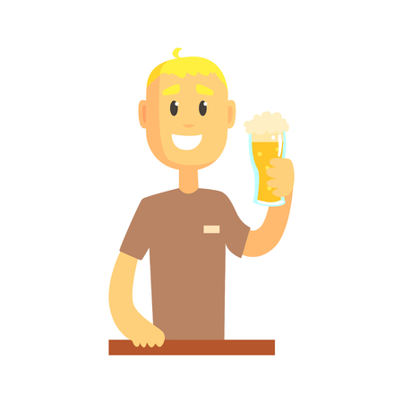 adding: Smiling bartender man character standing at the bar counter holding glass of beer, barman at work cartoon vector Illustration