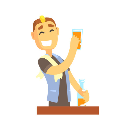 Smiling bartender man character standing at the bar counter, barman at work cartoon vector Illustration