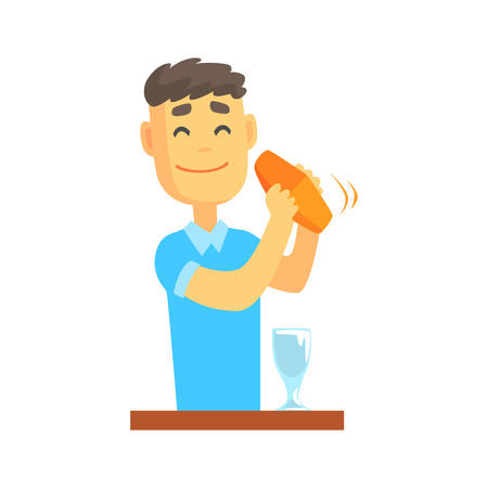 Bartender man character standing at the bar counter shaking cocktail, barman at work cartoon vector Illustration Иллюстрация
