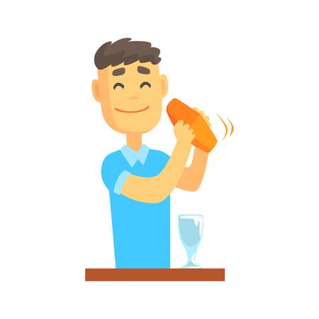Carácter de camarero hombre de pie en la barra mostrador agitando cóctel, camarero en el trabajo de dibujos animados vector ilustración Foto de archivo - 84442555