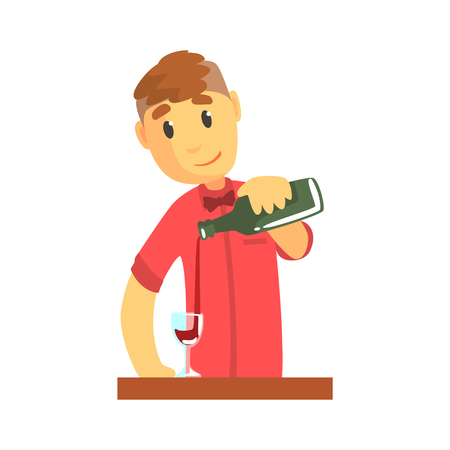 Young bartender man character standing at the bar counter pouring wine, barman at work cartoon vector Illustration