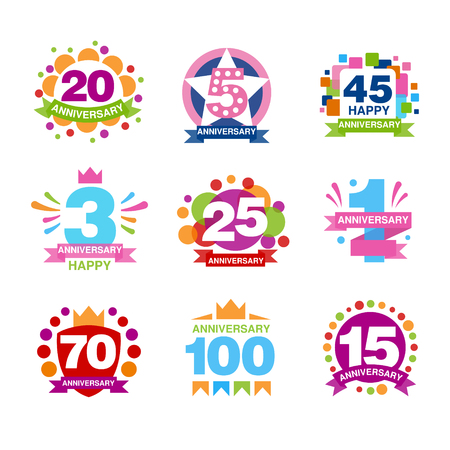 Colorful anniversary birthdays festive signs set, ubilee elements collection vector Illustrations