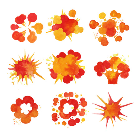 Explosions set, fire burst effect watercolor vector Illustrations Stock Vector - 84442576