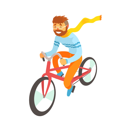 Hipster man enjoying cycling, sport lifestyle, riding, relax cartoon vector Illustration Illustration