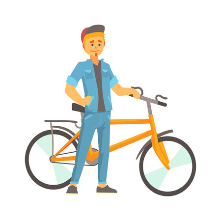 Smiling young man in casual clothes standing next to a bike, sport lifestyle, cycling, riding, relax cartoon vector Illustration