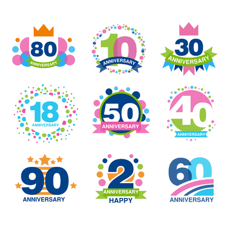 Anniversary birthdays festive signs set, ubilee elements collection vector Illustrations