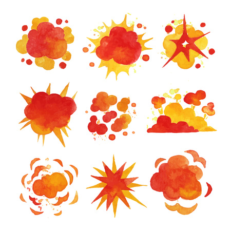 Ensemble d'explosions, vecteur d'aquarelle de l'explosion du feu Illustrations Banque d'images - 84442614