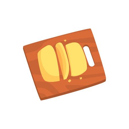 Kaas geserveerd op houten snijplank cartoon vector illustratie Stock Illustratie