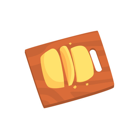 Cheese served on wooden cutting board cartoon vector Illustration