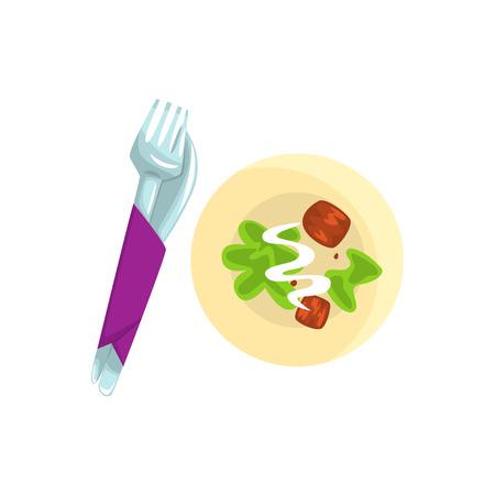 Messer, Gabel und Teller mit Essen Cartoon Vektor Illustration Standard-Bild - 84442618